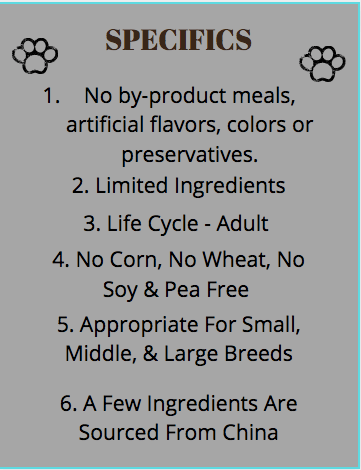 purina beyond dog food - specifics chart